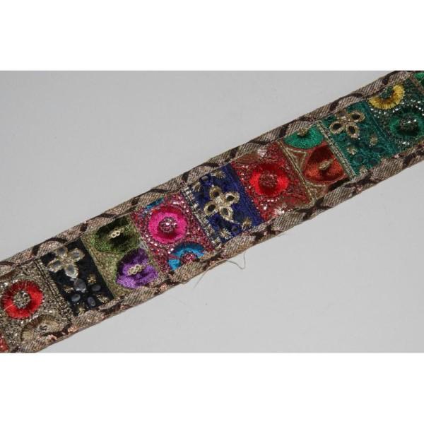 Galon ethnique patchwork, ruban de 5.5 cm de large - Photo n°1