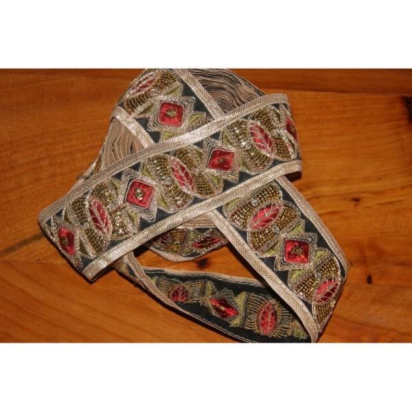 Galon ethnique patchwork, ruban de 6 cm de large - Photo n°2