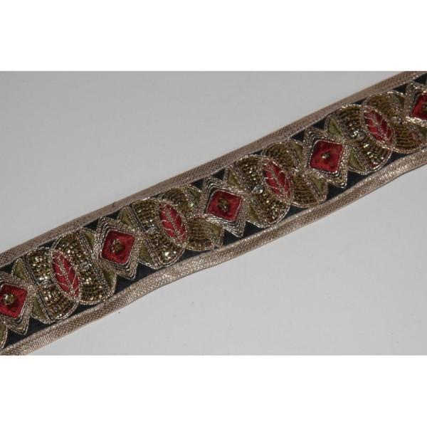 Galon ethnique patchwork, ruban de 6 cm de large - Photo n°1