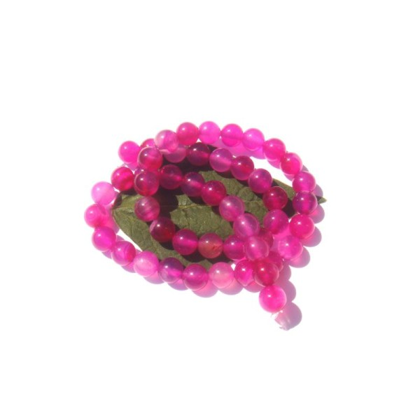 Agate teintée rose : 10 perles 8 mm de diamètre - Photo n°1