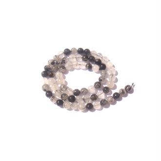 Quartz à inclusions de Tourmaline noire : 10 perles 6 MM de diamètre