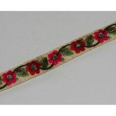 galon à passants 2m de ruban cordelet rouge /& blanc   2 cm de large