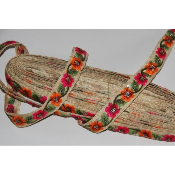 Galon ethnique fleuri, ruban de 2 cm de large. - Photo n°2