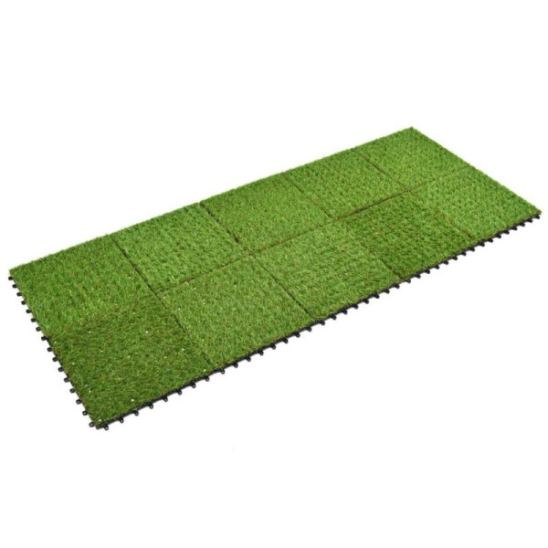 Vidaxl Carreau De Gazon Artificiel 10 Pcs 30 X 30 Cm Vert - Photo n°3