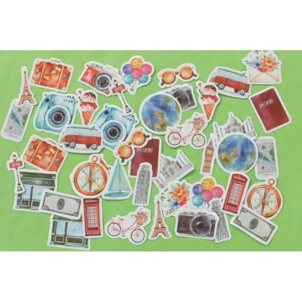 LOT DE 2 * 23 STICKERS : Souvenirs de voyages - Photo n°1