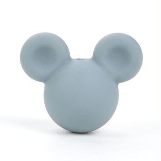 Perle en Silicone Gris Souris 24mm x 20mm Mickey, Creation attache tetine, bijoux
