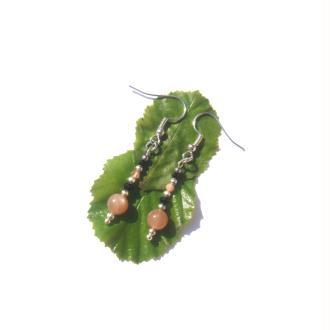 Boucles oreilles Pierre Soleil, Spinelle Noir 4,8 CM de hauteur