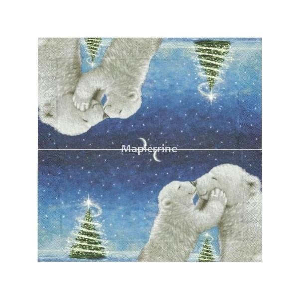 4x serviettes en papier pour découpage Icy de Noël//ours polaire//Mignon//Noël