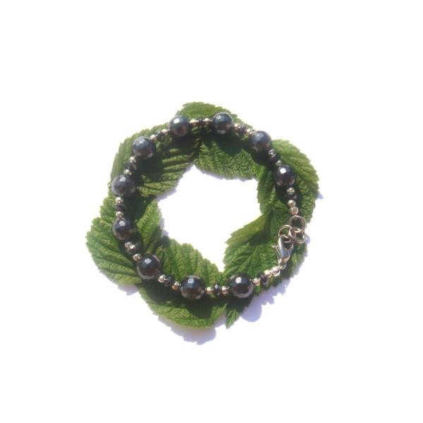 Bracelet Hématite facettée 17 à 18 CM de tour de poignet - Photo n°2