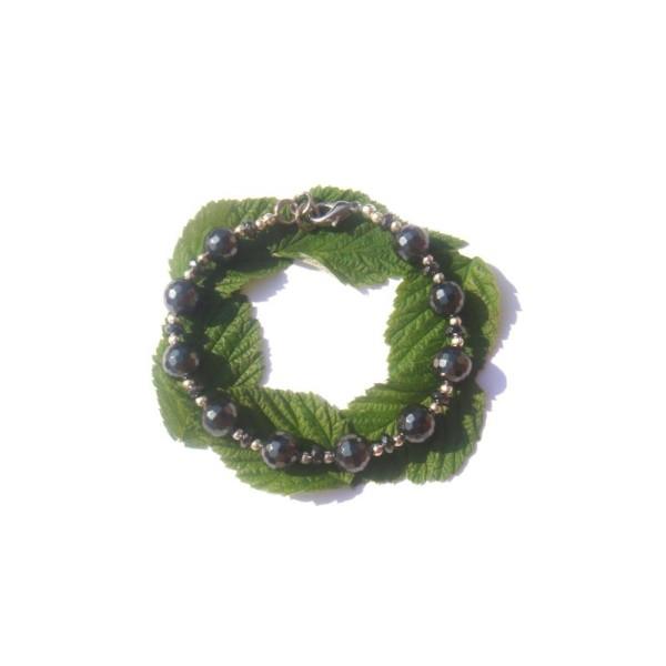 Bracelet Hématite facettée 17 à 18 CM de tour de poignet - Photo n°3
