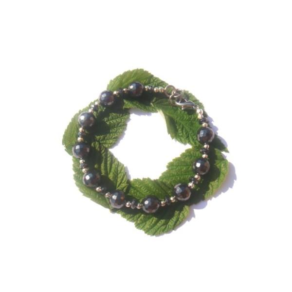Bracelet Hématite facettée 17 à 18 CM de tour de poignet - Photo n°1