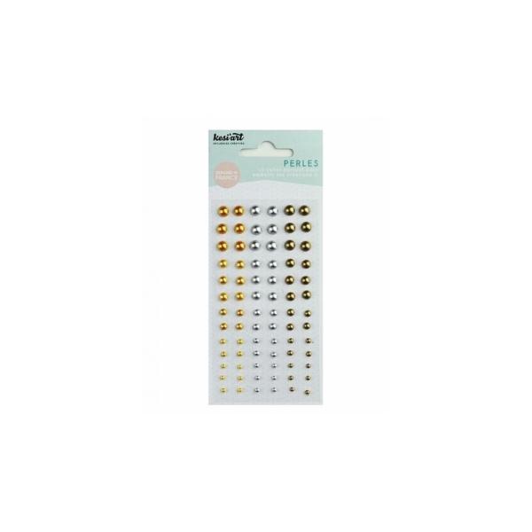 78 perles nacrées autocollantes Argent/Or - Photo n°1