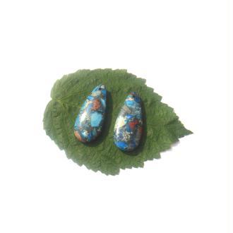 Jaspe Sédiment teinté, Pyrite : 2 Pendentif 3,6 CM de hauteur x 1,5 CM max