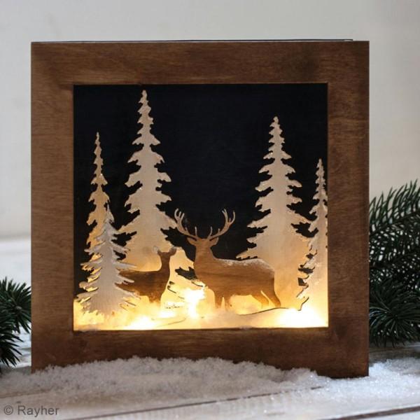 Kit cadre en bois 3D à monter - Paysage d'hiver - 20 x 20 cm - Photo n°2