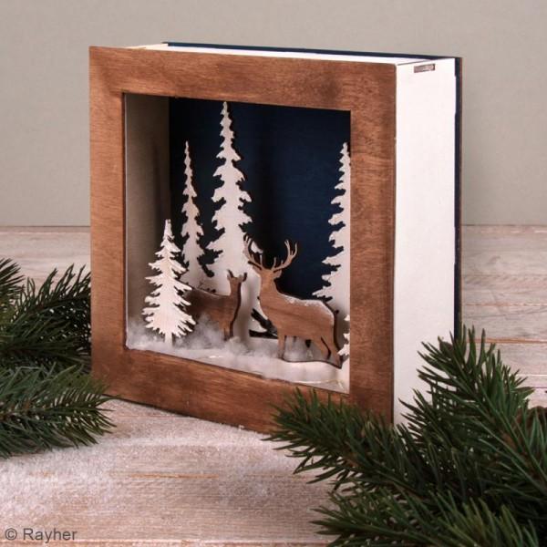 Kit cadre en bois 3D à monter - Paysage d'hiver - 20 x 20 cm - Photo n°3