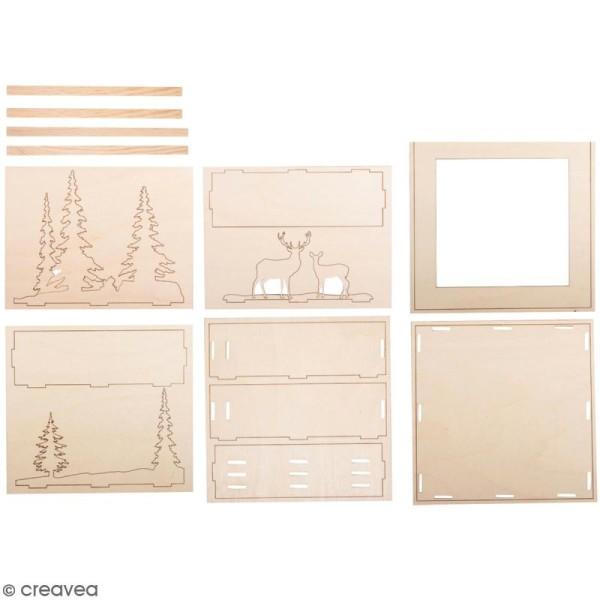 Kit cadre en bois 3D à monter - Paysage d'hiver - 20 x 20 cm - Photo n°1