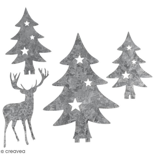 Silhouette en métal décorative - Sapins et cerf - 5 à 8,5 cm - Photo n°1