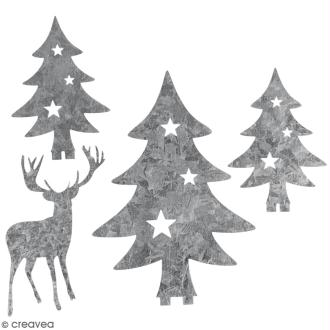 Silhouette en métal décorative - Sapins et cerf - 5 à 8,5 cm