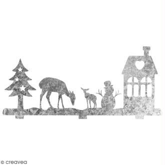 Silhouette en métal décorative - Paysage hivernal - 19 x 8 cm