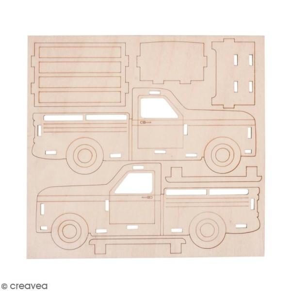 Kit Camionnette 3D en bois à monter - 21 x 8 x 8 cm - Photo n°1