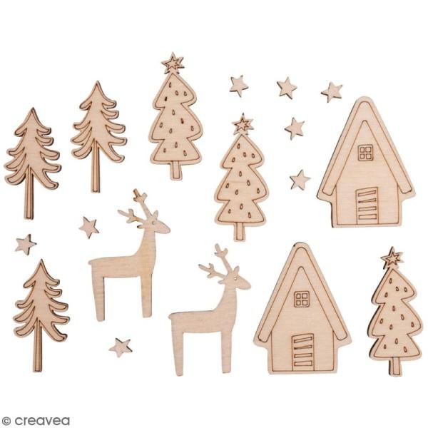 Miniatures en bois - Village d'hiver - 0,6 à 4 cm - 18 pcs - Photo n°1