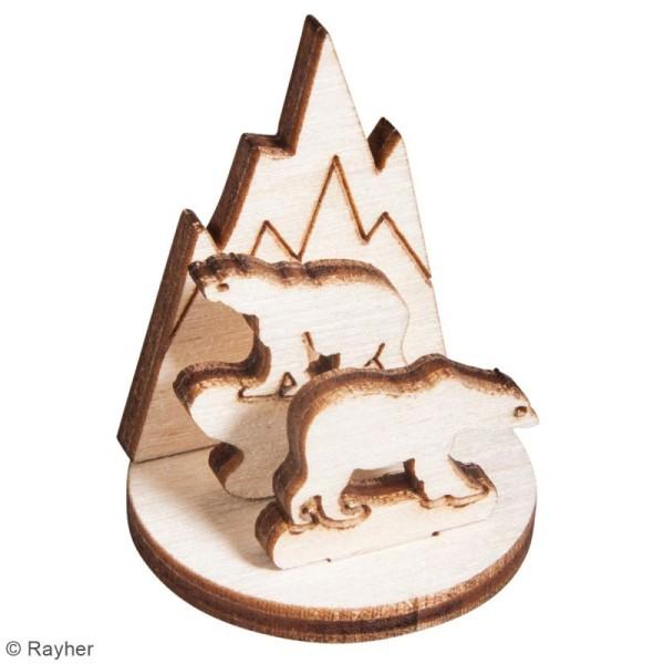 Assortiment de formes en bois à décorer - Ours polaires - 3,2 x 4 cm - 12 pcs - Photo n°3