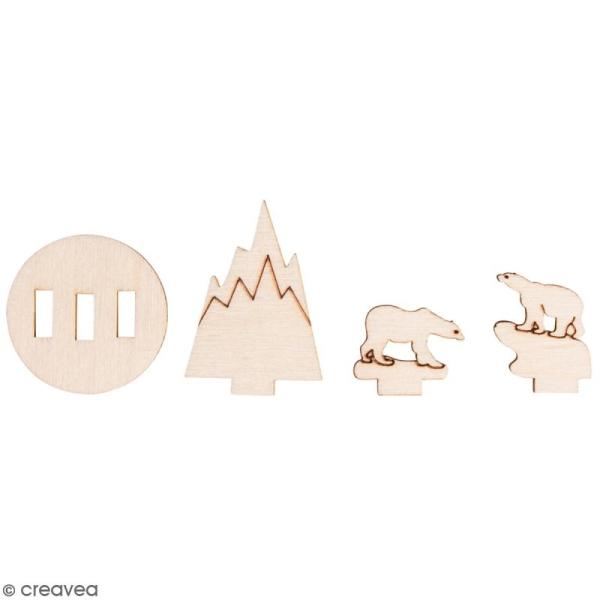 Assortiment de formes en bois à décorer - Ours polaires - 3,2 x 4 cm - 12 pcs - Photo n°1
