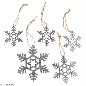 Flocon de neige en métal à suspendre - 5 à 9 cm - 5 pcs
