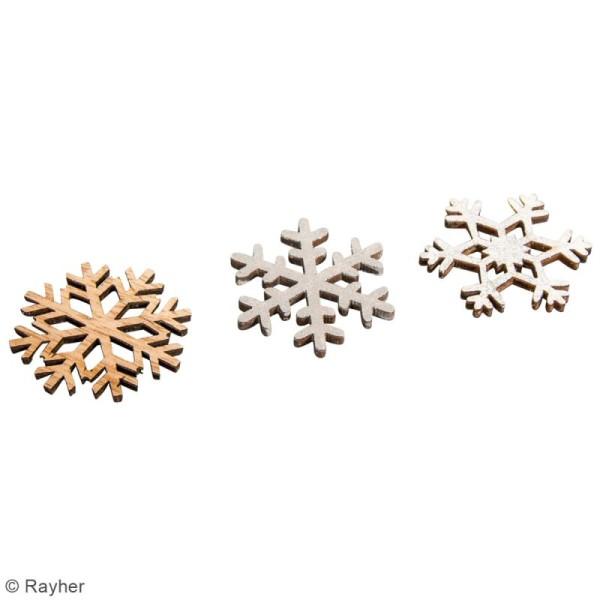 Mini décoration en bois - Flocons de neige - 3,8 cm - 12 pcs - Photo n°2