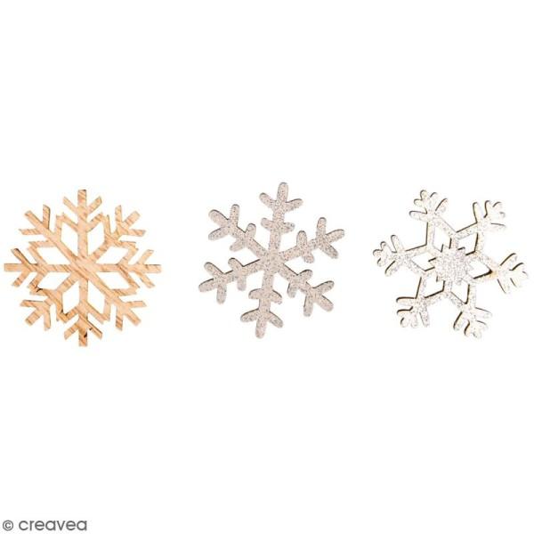 Mini décoration en bois - Flocons de neige - 3,8 cm - 12 pcs - Photo n°1