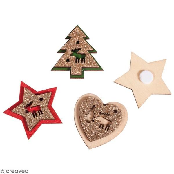 Miniatures en bois - Magie de Noël - 2,5 à 3 cm - 12 pcs - Photo n°1