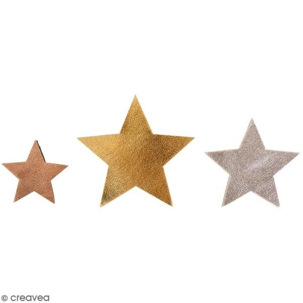 Étoiles en simili cuir - Rose cuivré et Argenté - 2,5 à 4,5 cm - 12 pcs - Photo n°1