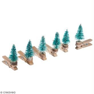 Pince à linge décorative - Mini sapin - 3,5 x 4 cm - 6 pcs