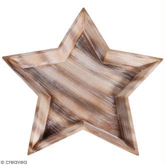 Plateau décoratif en bois - Etoile - 42 cm