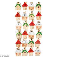 Chiffres pour calendrier de l'Avent - Pinces à linge Maison - 3 x 3,5 cm - 24 pcs
