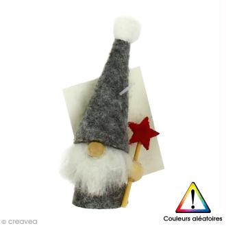 Miniature décorative à poser - Coloris aléatoire - Gnome de Noël en feutrine - 2 x 7 cm