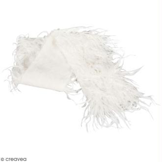 Coupon de fausse fourrure à poils longs - Blanc - 60 x 10 cm
