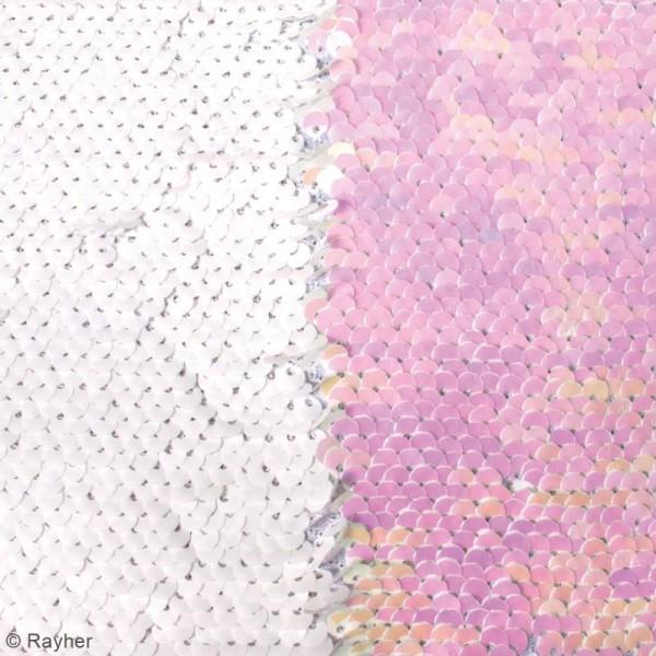 Coupon de tissu à sequins réversibles - Blanc / Nacré - 42 x 32 cm - Photo n°3
