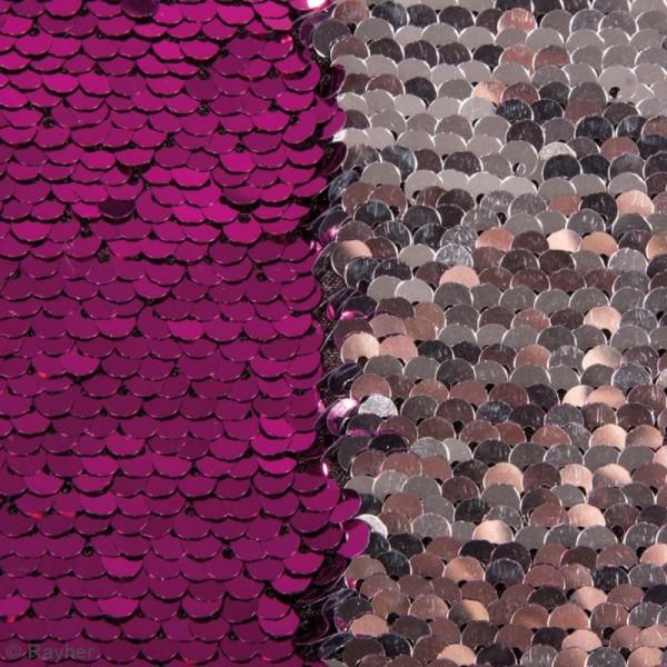 Coupon de tissu à sequins réversibles - Fuchsia / Argenté - 42 x 32 cm - Photo n°3