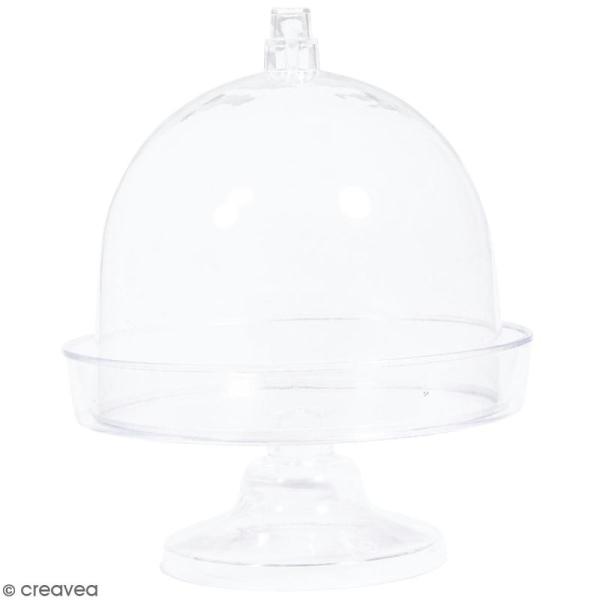 Mini-cloche en plastique avec socle - 9,5 x 11 cm - 4 pcs - Photo n°1