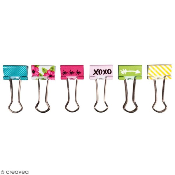 Set de pinces double clip à dessin - Happy - 2 cm - 6 pcs - Photo n°1