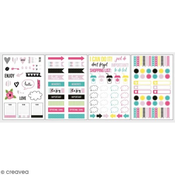 Stickers décoratifs My planner - Happy - 4 planches - Photo n°1