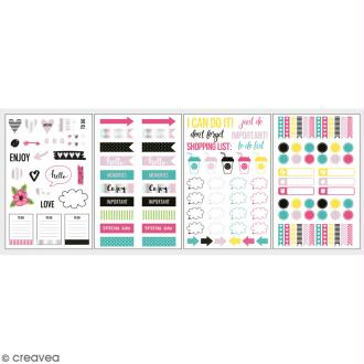 Stickers décoratifs My planner - Happy - 4 planches