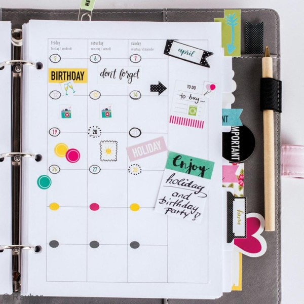 Stickers My planner - Happy - Chiffres et mois - 4 planches - Photo n°2