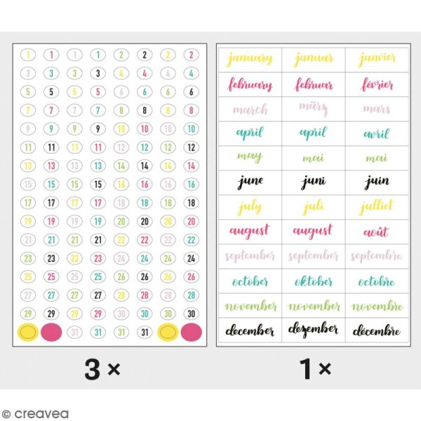 Stickers My planner - Happy - Chiffres et mois - 4 planches - Photo n°1