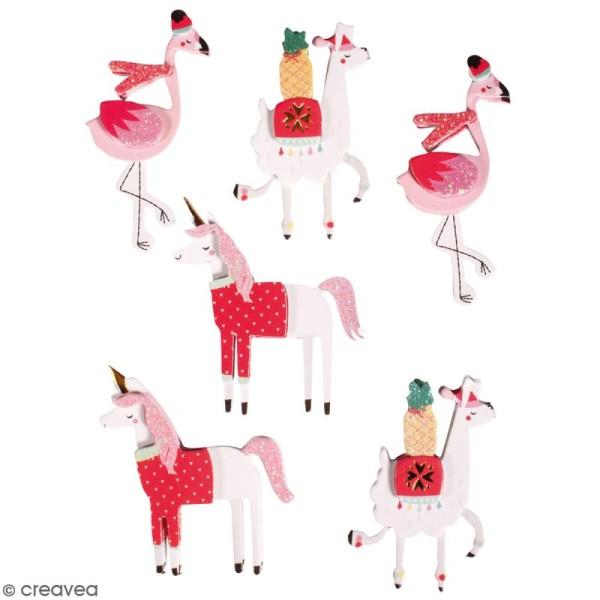 Stickers 3D Lamas, licornes et flamant roses - 6 autocollants - Photo n°1