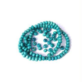 200 perles irrégulières en bois 5 MM x 6 MM couleur turquoise délavé