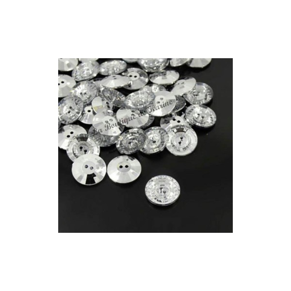 COUTURE SCRAPBOOKING 10 BOUTONS FANTAISIES STRASS TRANSPARENT 12 mm 2 TROUS