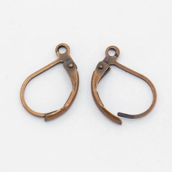 20 CROCHETS fermés supports BOUCLES D'OREILLES metal cuivre 10x15 mm - creation bijoux perles - Photo n°1
