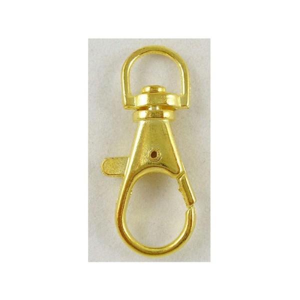 10 ATTACHES FERMOIRS MOUSQUETONS metal dore porte clefs cles - creation bijoux perles - Photo n°1